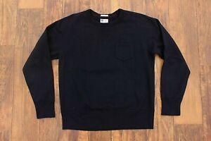 Mens Champion Runner Todd Snyder Black Crewneck Pocket Sweatshirt L Repro