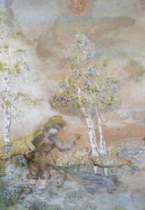 Antique gouache painting fishing scene