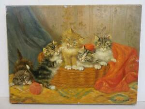 old PAINTING oil on canvas CATS kittens signed
