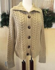 St Johns Bay PXL Petite Cardigan Sweater Khaki Cable Knit LS Buttons Aran Style