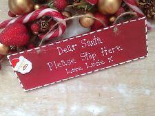 Personalised Christmas Santa Please Stop Here Sign Wooden Vintage Keepsake Gift