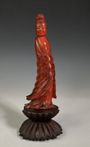 Antique Chinese Carved Horn Figure Statue Of Guanyin Carved Wood Stand