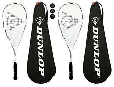 2 X Lite Titanio Raquetas De Squash Dunlop Max + Cubre + 3 Pelotas RRP £ 270