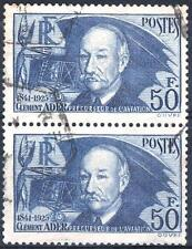 """FRANCE STAMP TIMBRE 398 """" CLEMENT ADER 50F OUTREMER EN PAIRE """" OBLITERE TTB M478"""