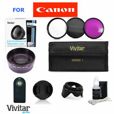 2.2X TELEPHOTO ZOOM LENS + HD FILTER KIT +REMOTE FOR CANON EOS REBEL DSLR T5 T3