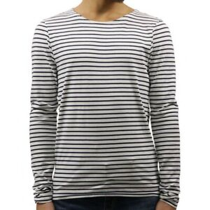 Scotch & Soda White & Navy Striped Stretch Cotton Crew Long Sleeve T-Shirt M $68