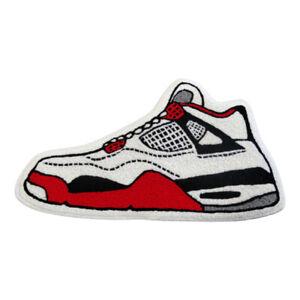 New Custom Nike Air Jordan 4 IV Fire Red Floor Mat Carpet Rug DC7770-160 White