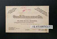 1893 GEO. D. BARNARD & CO. Business Card ~ Book Markers ~ St. Louis, Missouri