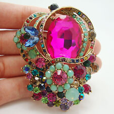 New Charming Flower Bouquet Pendant Brooch Pin Colorful Rhinestone Crystal