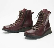 FLY London Women's Malu Leather Lace-up Combat Ankle Boot Size 39 Purple