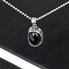 Mens Unisex Stainless Steel Pendant Necklace Black Stone L70