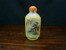 Chinese Peking Cut Yellow Glass Overlay Snuff Bottle Painted Inside #2