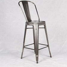 "Brushed Galvanized Tolix ""Style"" Marais Cafe Restoration Bar Stool Chair"