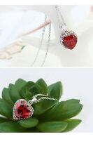 18K WHITE GOLD PLATED GENUINE AUSTRIAN CRYSTAL & RUBY RED CZ HEART NECKLACE