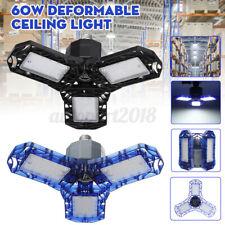 60W 85-265V Deformable LED Ceiling Light High Bay Lamp Garage Warehouse