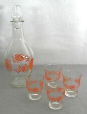 Vintage Anchor Hocking Orange Decor Drink Decanter with 4 Shot Glasses