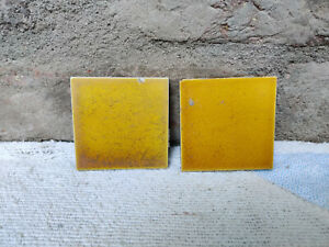 "1930s Vintage Architecture Furniture Tile 3"" x 3"" Yellow Shade Pair England"
