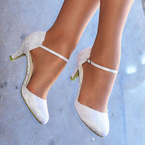 LADIES WHITE IVORY LACE EMBELLISHED SATIN LOW HEEL ANKLE STRAP WEDDING SHOES
