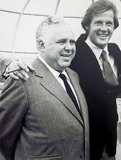 ROGER MOORE & HARRY SALTZMAN clipping 1980s new James Bond producer B&W photo