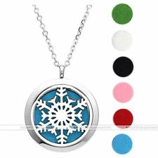 Essential Oil Diffuser #03 Gift Snowfake Stainless Steel Locket Necklace Perfume