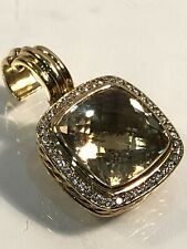 David Yurman SOLID 18k Gold 14mm Champagne Citrine & Diamond Pendant $3,800
