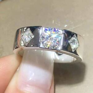 2.5Ct Round Cut Moissanite Solitaire Men's Engagement Ring 18K White Gold Finish