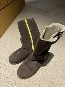 Mini Boden Long Suede Boots Girls Size 35