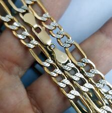 2 tone mans 14k yellow gold Figaro chain 24 inches long 6 mm