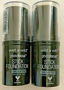 2 WET N WILD Photofocus  Stick Makeup Foundation GOLDEN TAN  864A New