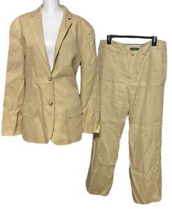 Ralph Lauren 100% Linen Fully Lined Pant Suit Set Size 14 Sanderson EUC