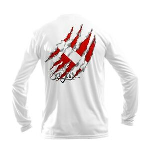 Sea Fear Uomo 50 + Upf Manica Lunga Rash Guard Immersioni Torn Bandiera Bianco
