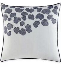 New Ellen Degeneres 100% Linen Bleu Mid Euro Pillow Sham Embroidered Ivory Blue