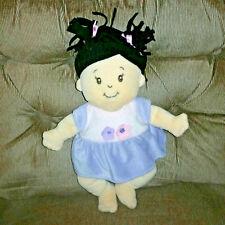 Manhattan Toy STELLA Baby Doll 14in Soft Tan Plush Black Hair Purple Dress 2008