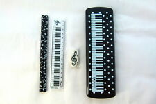 Music Themed White Spots Piano Keys Black PVC Plastic Pencil Case with Pencils,
