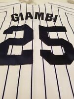 Majestic New York Yankees Jason Giambi Authentic Stitched Pinstripe Jersey L/XL