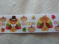 """BTY 7/8"""" Thanksgiving Turkey Gobble Pumpkin Leaves Grosgrain Ribbon"""