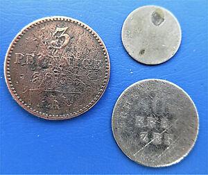 Lot 3 Münzen Altdeutschland, Kreuzer, Sechsling, Pfennige mindere Qualität