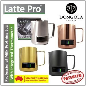 LATTE PRO Professional Milk Frothing Jug Integrated Thermometer Stainless Steel