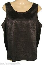 Ladies Thai Silk Sleeveless Blouse /  XXL / UK 24 Black Jacquard Weave FREE POST