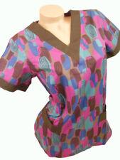 New Women Nursing Scrubs Brown Pink Blue Cotton Top Size XS