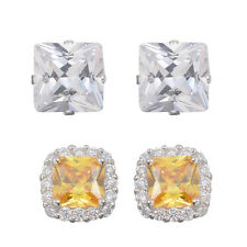 STERLING SILVER SIMULATED DIAMOND WHITE & YELLOW CANARY STUD EARRINGS SET OF 2