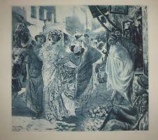 """Aquatinte, par R. LORRAIN, """"Promeneuses Antiques"""", d'ap. ROCHEGROSSE, XXème"""