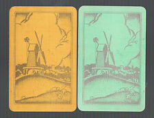 Playing Swap Cards 2 VINT BRITISH  DECO  SILVER GOLD  WINDMILLS & SHEEP W352
