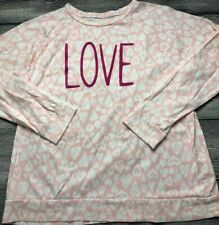 Lands' End Pink White Heart Love Top Dolman Sleeve Size XL 16+