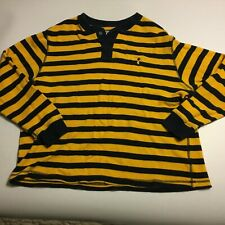 Mens Cremieux LS Thermal Henley Shirt Rugby Look Yellow Navy Sz XL