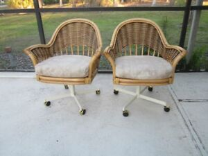 Rattan Bamboo Armchair Swivel Caster With Cushion Set of 2