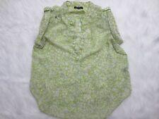 Antilia Femme Shirt Large Green White Floral Sleeveless Button Spring Womens