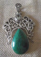 "2 1/2"" (Hallmarked In The Uk) 925 Sterling Silver Green chrysocolla Pendant"