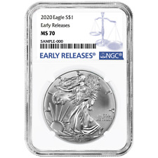 2020 $1 American Silver Eagle NGC MS70 Blue ER Label
