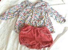 Baby Boden LIBERTY PRINT COLLARED TOP & CORD BLOOMERS guc 18-24 outfit set